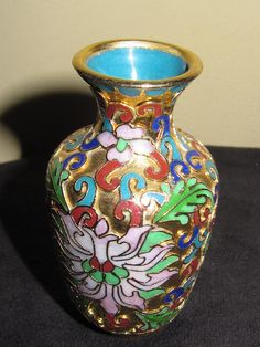 Chinese Raised Cloisonne Miniature Vase Enameled with Lotus Flowers Top View