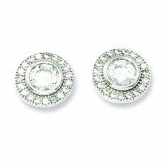 .925 Sterling Silver 24 MM Polished CZ Fancy Post Stud Earrings