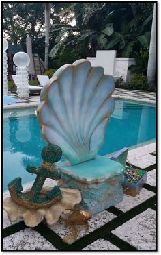 015 Mermaid Chair- Event Planning: Design Plan Play Mermaid Float, Mermaid Cave, Mermaid Diy, Mermaid Under The Sea, Under The Sea Theme, Under The Sea Party, Little Mermaid Play, Little Mermaid Birthday, Ocean Themes
