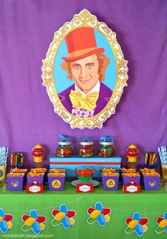 I think I will do this for the party favor table, only have a picture of Xander dressed up like Willy Wonka!