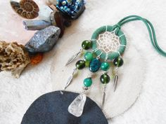 Dreamcatcher necklace  green tones  quartz charms by JewelryByPlk