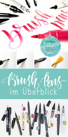 Brush Pens at a glance - Paper Love - Handlettering - Lettering Brush, Hand Lettering Alphabet, Lettering Practice Sheets, Bullet Journal Hand Lettering, Diy Letters, Watercolor Brushes, Watercolor Art, Vinyl Fabric, Permanent Marker