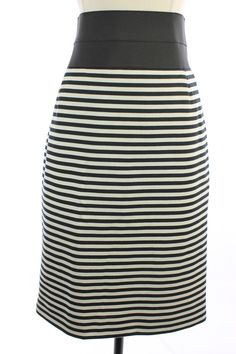 NWT New AKRIS Black Off White STRIPED Knee Length PENCIL Straight Dress SKIRT 10 #Akris #StraightPencil#FallFASHION #FallFashion2014 #FashionTrends #WomensStyletips  #WorkWear #StyleClothes http://www.ebay.com/itm/381051537477