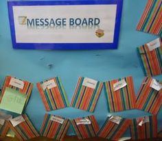 Message board for writing area - leave friends a post-it note/drawing etc Communication And Language Activities, Abc Does, Read Write Inc, Pre School, School Kids, School Stuff, Foundation Stage, Eyfs Activities, Classroom Inspiration