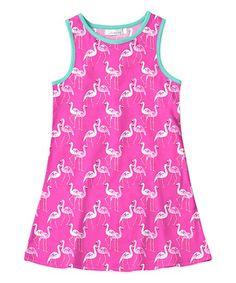 Sunshine Swing Pink & White Flamingo Tank Dress - Toddler & Girls | zulily