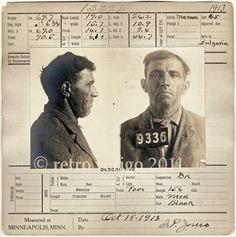 Prisoner No 9336 - Criminal Mug Shot - Sentenced for Murder - Minneapolis Police Department Forensics - Minnesota Bertillon Portrait via Etsy