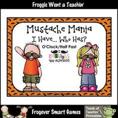 Math Center--Mustache Mania I Have... Who Has? (O'Clock/Ha