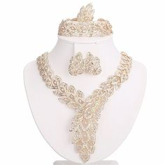 Moochi 18K Gold Plated Scarf-Shaped Crystal Chain Necklace Ring Jewelry Set ** Insider's special review you can't miss. Read more  : Jewelry Sets