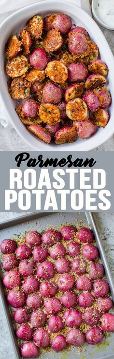Garlic Parmesan Roasted Potatoes are the best side dish ever! #potatorecipe #raostedpotatoes #garlicparmesanroastedpotato #sidedish #appetizer