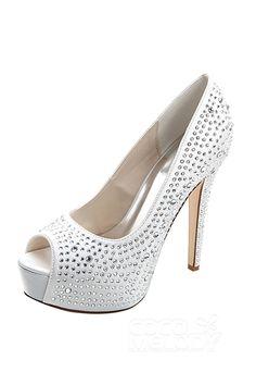Stiletto Heel 12.7cm Heel 2.8cm Platform Satin Rhinestone Peep Toe Bridal Shoes SWS16022#Cocomelody#weddingshoes#bridalshoes#