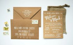 Burlap and hand typography by Blue Eye Brown Eye invitation design #calligraphy