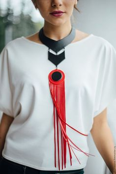Badass red fringe collar fringe necklace