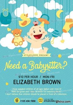 Fun Poster Templates Babysitting Psd Flyer Template  Family And Kids Flyers  Pinterest .