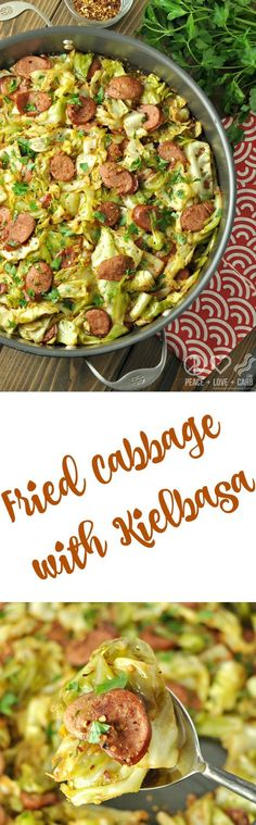 Fried Cabbage with Kielbasa. Low Carb and Gluten Free. Deliciously satisfying -Quick and Easy weeknight dinner on a budget!  via @PeaceLoveLoCarb