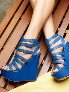 Brilliant Blue Wedges I AM NEVER GUNNA BE SHORT, I MIGHT AS WELL HAVE CUTE SHOES!