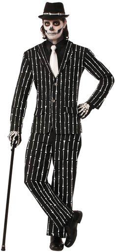 Bone Pin Stripe Skeleton Adult Costume