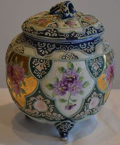 Antique Nippon Porcelain Moriage covered Cookie Jar