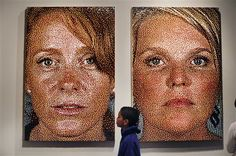 Portrait made of Push Pins - Eric Daigh takes photos, reduces them to pixels and then makes portraits using red, yellow, blue and black pushpins.
