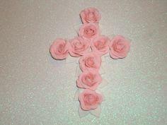 Gumpaste Rose Cross Cake Topper for Christenings by GumpasteGarden, $16.00