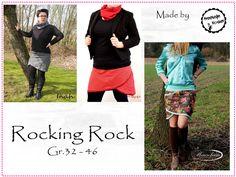 Rocking Rock  Mit dem Schnittmuster Rocking Rock nähst Du Dir ganz schnell einen zauberhaften Rock in den Gr. 32 - 46.  Der Rock lässt sich aus allen Stoffen mit und ohne Elasthananteil nähen...