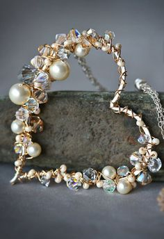 Pearl and Crystal Sterling and Gold Wire Wrapped by Mayahelena