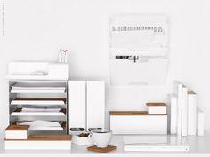 Kvissle desk accessories for IKEA. Design by Lilja Löwenhielm : home office : workspace Desk Organization Ikea, Ikea Desk, Ikea Workspace, Organizing, Ikea Home Office, Home Office Storage, Desk Storage, Storage Boxes, Modern Magazine Racks