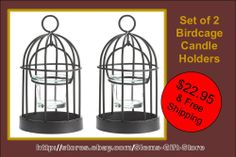 $22.95 & Free Shipping! BIRDCAGE CANDLE HOLDERS BIRD CAGE TEALIGHT OR VOTIVE HOLDER IRON W/ GLASS CUPS http://stores.ebay.com/Slems-Gift-Store or order directly from me at dslem3@yahoo.com for 20% off anything in the store!