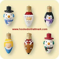 Hallmark Miniature Merry and Bright Ornaments at Hooked on Hallmark Ornaments 2006 Merry and Bright - Merry and Bright - Miniature Christmas Light Bulbs, Christmas Ornaments To Make, Christmas Balls, Homemade Christmas, Christmas Projects, Holiday Crafts, Christmas Holidays, Christmas Decorations, Homemade Ornaments