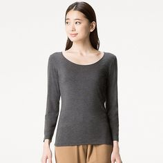 This women's HEATTECH scoop neck top is stretchy and fitted, with a smooth feel for superb cold-weather comfort. The addition of argan oil moisturizer gives this season's model a softer, suppler texture. A deep scoop neck design and three-quarter sleeves Argan Oil Moisturizer, Suits You, Uniqlo, Neck T Shirt, Your Style, Scoop Neck, Pullover, Sleeves, Model