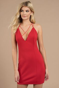 This sexy bodycon dress is bound to turn heads. Featuring a plunging  neckline and double 291a9899f