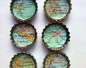 Items similar to Bottle Cap Magnets - Recycled Atlas on Etsy