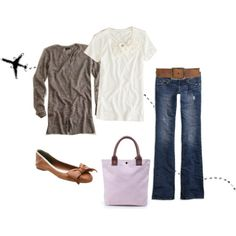 Jeans, natural anthro top, brown cardi, brown flats, gold earrings
