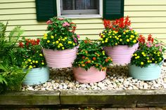 Galvanized Wash Tubs to show off your flowers  --  won't have to be replaced in a few years like wooden barrels.