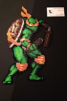 Teenage Mutant Ninja Turtles Michelangelo Perler bead Sprite by RatedEforEveryone