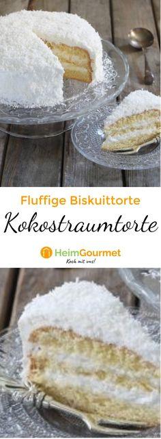 Fluffige Biskuittorte mit leckerer Kokoscreme