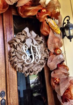 This custom wreath will look great on your front door all year long totally customized just for you!