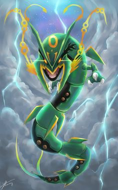 Ruler of the sky, Mega Rayquaza by R-nowong.deviantart.com on @deviantART