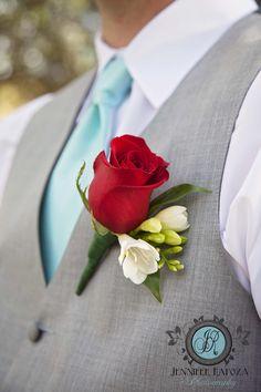 Tiffany Blue and Red Wedding. Boutonnière Rose. Gray suit. Jennifer Rapoza Photography, Sonora, California #TiffanyBlueWeddings