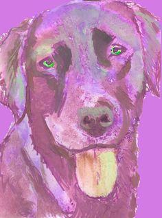 Labrador dog portrait print Colourful abstract by OjsDogPaintings #labrador #lab #dogs #labradors #art #purple