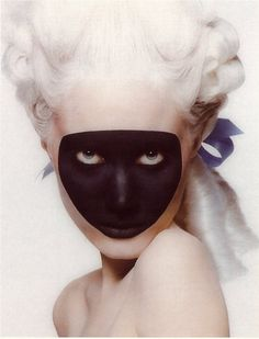 white hair, black mask and blue bow