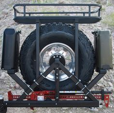 Rock Hard Cargo Basket mounts directly to your Jeep Wrangler TJ, LJ, JK's RH Tire Carrier to allow for extra storage space for bulky or heavy items! Jeep Jk, Wrangler Jeep, Jeep Suzuki, Jimny Suzuki, Patrol Y61, Nissan Patrol, Jeep Camping, Jeep Wrangler Accessories, Jeep Accessories