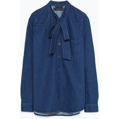 Zara Denim Shirt With Bow ($50) ❤ liked on Polyvore featuring tops, navy blue, zara top, zara shirt, blue top, denim top y denim shirt
