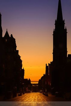 Dawning of a new day on the Royal Mile, Edinburgh.