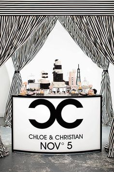 I love the giant C's idea, {couples initials} & the Date... ;D...BUT, I'm not loving the striped curtains. Try flowy ivory sheers or silk with a beautiful crystal chandelier...Voila!
