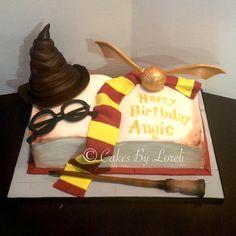 Harry Potter ✨ #birthdaycake #cake #fondantcake #fondant #harrypotter #harrypottercake #sortinghat #goldensnitch #magicwand #openbookcake #customcake