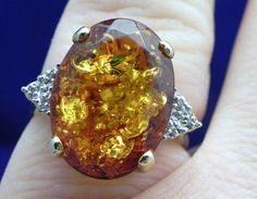 Amber stone ring