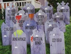 Here they have designed some good humored headstones halloween tombstones ideas Halloween Tombstone Sayings, Halloween Graveyard, Halloween Tombstones, Scary Halloween, Halloween Stuff, Tombstone Quotes, Halloween 2019, Happy Halloween, Halloween Porch Decorations