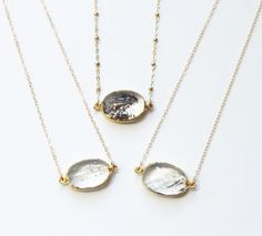 Raw Crystal Necklace- Layering Necklace  || Includes ||  --Beautiful reticulated crystal quartz pendant with an electroplated 24k gold
