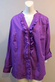 Lane-Bryant-Purple-Ruffle-Front-Shirt-Button-Up-Long-Sleeve-Roll-Tab-NEW
