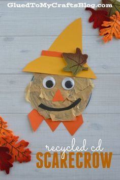 Recycled CD Scarecrow from Glued to my Crafts Fall Arts And Crafts, Preschool Arts And Crafts, Cd Crafts, Daycare Crafts, Autumn Crafts, Toddler Crafts, Holiday Crafts, Fall Preschool, Autumn Activities For Kids